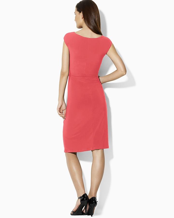 Lauren Ralph Lauren Dress - Cowlneck Cap Sleeve Matte Jersey
