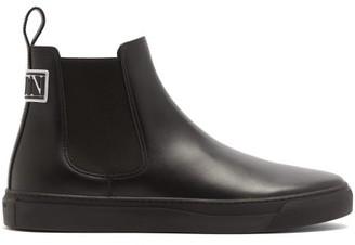 Valentino Vltn-logo Leather Boots - Black