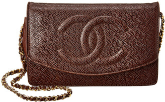 Chanel Brown Lambskin Leather Timeless Wallet On Chain