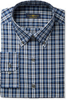 Club Room Estate Men's Classic-Fit Wrinkle-Resistant Blue Navy Plaid Dress Shirt, Only at Macy's