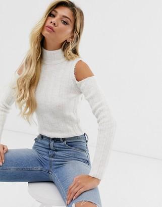 Asos Design DESIGN fluffy sweater with cold shoulder detail-Beige