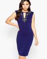 Little Mistress Wiggle Midi Dress with Embellished Neckline