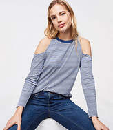 LOFT Striped Cold Shoulder Long Sleeve Tee