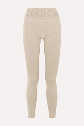 Cordova Signature Ribbed Stretch-knit Leggings - Beige