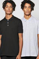 Boohoo Short Sleeve Pique Polo 2 Pack
