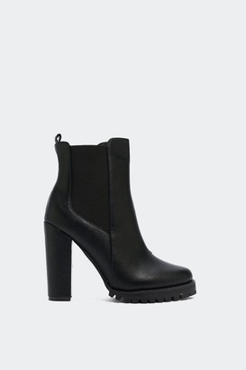 Nasty Gal Womens Leather Chelsea Boots with Elastic Goring - Black