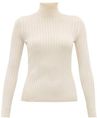 Gucci Ribbed Roll-neck Silk Sweater - Womens - White