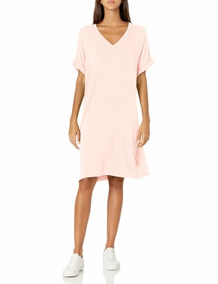 Daily Ritual Amazon Brand Women's Supersoft Terry Deep V-Neck Roll-Sleeve High-Low Dress