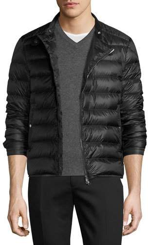 Moncler Quilted Moto Puffer Jacket, Black