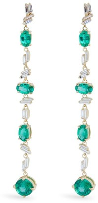 Suzanne Kalan Yellow Gold Diamond and Emerald Fireworks Drop Earrings