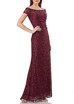 Carmen Marc Valvo Off-the-Shoulder Lace Gown