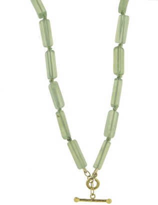 Cathy Waterman New Jade Beaded Strand Yellow Gold Necklace