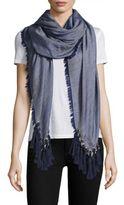 Chloé Pompon Fringe Wool, Silk & Cashmere Scarf