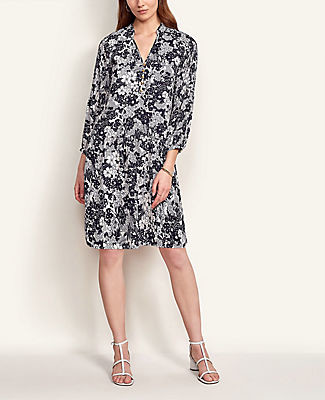 Ann Taylor Floral Pleated Sleeve Shift Dress