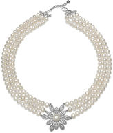 JCPenney FINE JEWELRY Cultured Freshwater Pearl and Crystal Three-Row Necklace