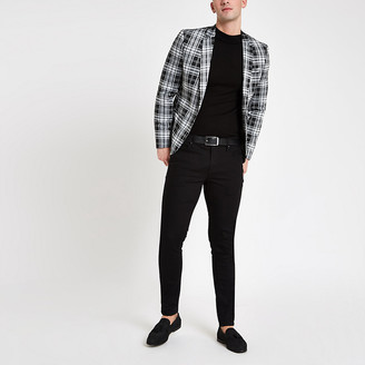 River Island Black tartan check skinny fit blazer