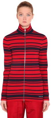 Prada Striped Ribbed Knit Zip-up Sweater