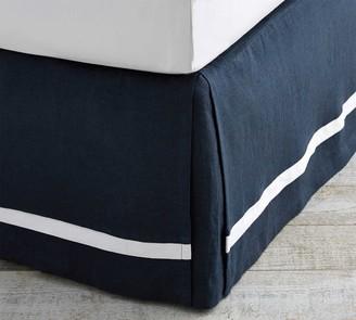 Pottery Barn Belgian Flax Linen Contrast Flange Bed Skirt