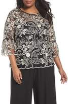 Alex Evenings Plus Size Women's Embroidered Bell Sleeve Blouse