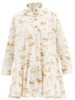 Ganni Ruffle-neck Horse-print Organic-cotton Dress - White Multi