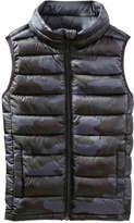 Joe Fresh Kid Boys' Camo Puffer Vest, Charcoal (Size L)