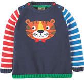 Frugi Organic Baby Jack Knit Tiger Jumper, Navy