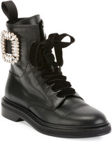 Roger Vivier Viv Rangers Strass Leather Lace-Up Booties