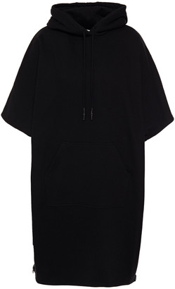 McQ Oversized Zip-detailed French Cotton-terry Hooded Mini Dress