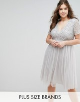Lovedrobe Luxe Cap Sleeve V Neck Midi Dress With Tonal Delicate Sequins