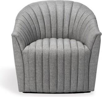 Interlude Channel Swivel Barrel Chair Fabric: Gray