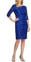 Alex Evenings Women's Rosette Lace Sheath Dress
