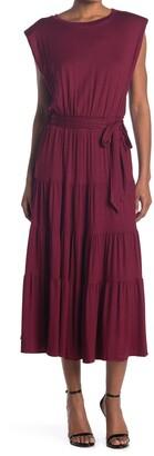 One One Six Shoulder Pad Jersey Knit Midi Dress