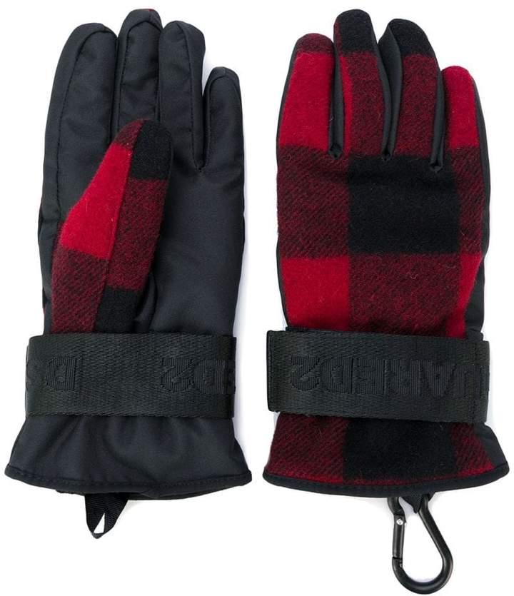 DSQUARED2 padded checked gloves