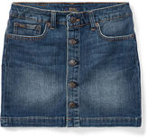 Ralph Lauren 7-16 Button-Front Denim Skirt