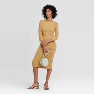 A New Day Women's Long Sleeve Scoop Neck Rib Knit Midi Dress