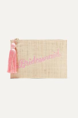 Kayu Bridesmaid Embroidered Woven Straw Pouch - Sand