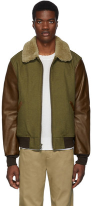 Schott Khaki and Brown Leather B-15 Jacket