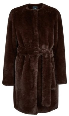 Dorothy Perkins Womens Chocolate Belted Faux Fur Coat