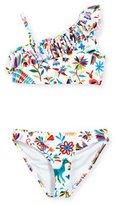 Milly Minis Folkloric Ruffled One-Shoulder Bikini, White Pattern, Size 10-14