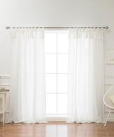 Best Home Fashion Ivory Abelia Tie-Top Belgian Linen Curtain Panel