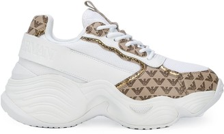 Emporio Armani Two-Tone Branded Sneakers
