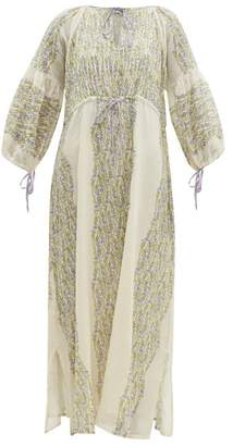 D'Ascoli Meadow Floral Print Cotton Maxi Dress - Womens - Purple