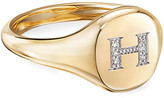 David Yurman Mini DY Initial H Pinky Ring in 18K Yellow Gold with Diamonds, Size 4.5