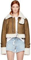 Off-White Brown Cropped Shearling Jacket