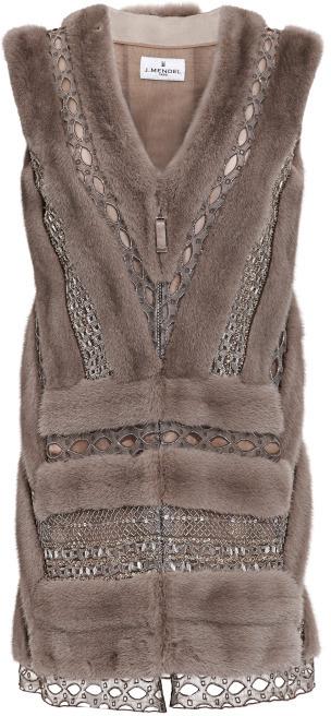 J. Mendel Let Out Mink And Metallic Graphic Lace Vest