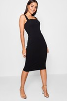 Boohoo Jen Square Neck Bodycon Midi Dress