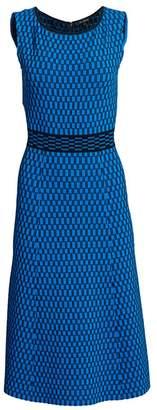 St. John Sleeveless Check Jacquard Knit Fit-&-Flare Dress