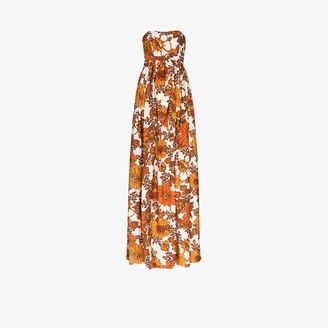 Dodo Bar Or Zaza floral print strapless maxi dress