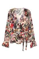 H&M Ruffled Wrapover Blouse - Natural white/floral - Women