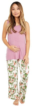 Everly Grey Jacqueline Maternity/Nursing Two-Piece Set (Beige Floral) Women's Pajama Sets